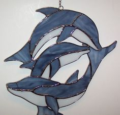 Stained Glass 10 inch x 10 inch Dolphins Sun Catcher