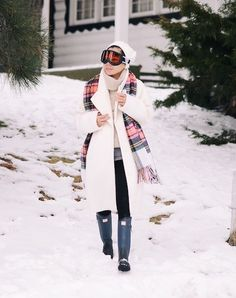 12.15 post card from lake tahoe (Carven coat + J Crew plaid scarf + White and Warren cashmere sweater + Zara faux leather pants + Hunter boots)