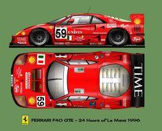 Ferrari by VanHest Ferrari F40, Ferrari Racing, Gt Cars, Indy Cars, Race Cars, Porche 911, Slot Car Tracks, Car Posters, Car Drawings