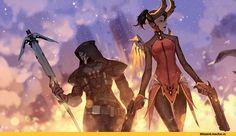 Overwatch art,Overwatch,Blizzard,Blizzard Entertainment,фэндомы,Reaper (Overwatch),Mercy (Overwatch)