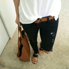 Love the dark jeans and the white T