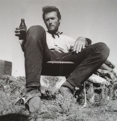"""Clint Eastwood relaxing on the set of """"The Good The Bad and The Ugly"""" (1966)"""