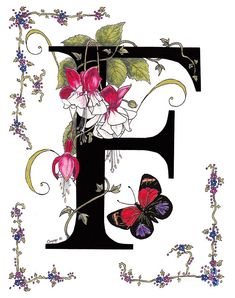 F Is For Fuschias And A Figure Eight Butterfly Painting by Stanza Widen
