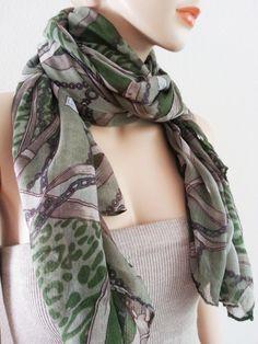 ON SALE Print Scarf  Green Khaki Beige Large by InfinityScarfs, $21.40
