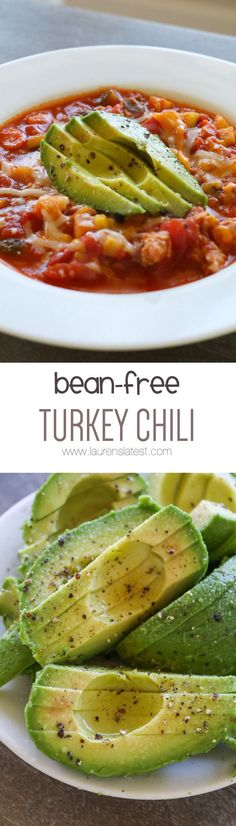 This Bean-Free Turkey Chili is a great low-carb, veggie packed dinner. It tastes just like chili, just minus all the beans!