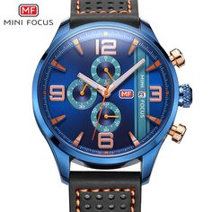 2017 Popular Navy Blue Multifunctional Sports Watch Men Chronograph 6 Hands 24 Hours Genuine Leather Men Watches reloj deportivo #Affiliate
