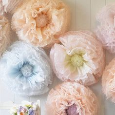 Nine Hand Dyed Wedding Paper Flower Pompom Peonies