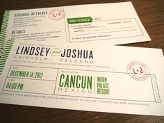Destination Wedding Boarding Pass Invites -- Cute Idea and I want a destination wedding!!