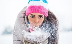 Winter fashion accessories add color to the snow