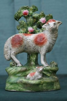 SUPERB EARLY 19thC STAFFORDSHIRE R. SALT PEARLWARE SHEEP & RECUMBENT LAMB c1810s