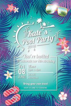best ideas for flamingo birthday party stage Pool Party Birthday Invitations, 13th Birthday Parties, Summer Birthday, Birthday Bash, Invites, 19th Birthday, Invitation Ideas, Birthday Ideas, Summer Pool Party