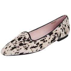 Patricia Green Dalmatian ($258) ❤ liked on Polyvore featuring shoes, flats, dalmatian, shoes flats, ballerina flat shoes, ballerina shoes, black and white flats, pony hair shoes and ballet flat shoes