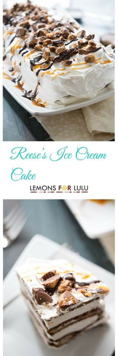 "You are going to love this quick, no fuss dessert!  Ice cream sandwiches form the ""cake"" layer in this ice cream cake recipe, while Reese's Peanut Butter Cups, peanut butter, caramel and chocolate sauce make a truly decadent filling! lemonsforlulu.com"