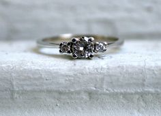 Vintage Traditional Three Stone Diamond Engagement Ring in 14K White Gold from Etsy - My Engagement Ring!