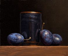 """Daily Paintworks - """"Still Life with Japanese Cup and Italian Plums (+ exhibitions)"""" - Original Fine Art for Sale - © Abbey Ryan Still Life Images, Still Life Art, Image Fruit, Image Halloween, Image Nature, Still Life Oil Painting, Prune, Art Graphique, Fine Art Gallery"""