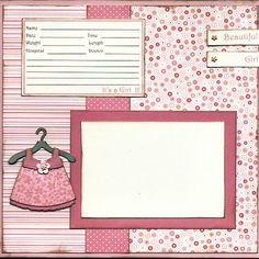 Baby Girl Birth Announcement Scrapbook Page by Captured Moments Scrapbooking, via Flickr