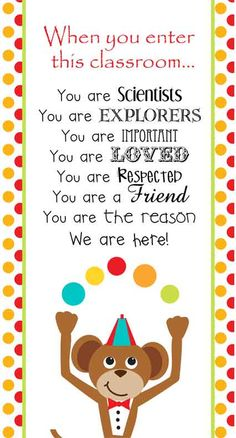 Circus Theme Classroom Decor/ Character Education Banner / Small / When you enter this classroom / JPEG / ARTrageous FUN
