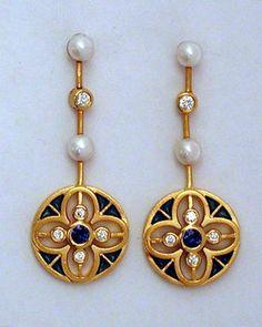Art Nouveau Plique-à-Jour Enamel, Diamond, Pearl, Sapphire, and Gold Earrings by Lluís Masriera Rosés