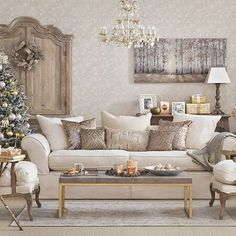 Gold Christmas living room | Living room decorating | Ideal Home | Housetohome.co.uk