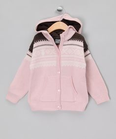 Pink Merino Wool Hooded Cardigan - Toddler & Girls by Cosy Knits Boutique