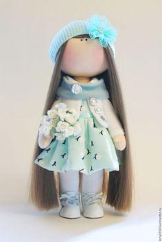 Купить Полли - мятный, белый, кукла ручной работы, текстильная кукла, интерьерная кукла