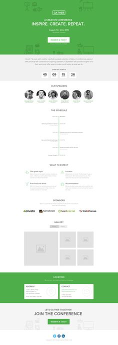 like clean and simple look adapt timeline for process? Gather – Pagewiz Event Conference Meetup Template