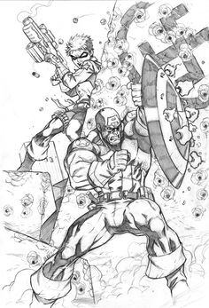 Ed Nunez Captain America and Bucky Comic Art