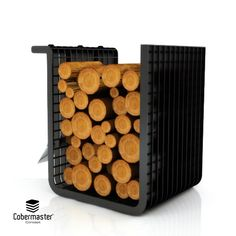 Square is the most simplistic Firewood Holder. As the name implies, it has a three-dimensional square shape, ideal for stacking firewood since it can support a large amount of cargo. It is designed with a 90º angle turned to the outside so you can suspend the accessories in the holder.  Dimensions (cm): Width: 47; Depth: 30cm; Height: 50cm Stacking Firewood, Firewood Holder, Wood Storage, Minimalist Design, Three Dimensional, Bronze, Concept, Shapes, Texture