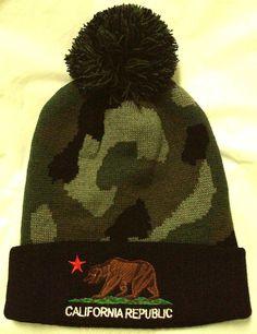 c4f8605f218 New camo cali ca california republic flag bear pom beanie knit watch cap  ski hat