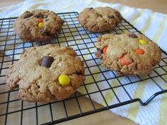 Jumbo Reese Pieces Peanut Butter Cookies by Adapted from Brown Eyed Baker