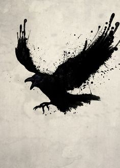 The Raven - metal plate print @displate #bird #black #dark #fly #nicklasgustafsson #artwork #konstnär #displate #art #crow #raven #ink
