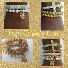 Gold and Cream bracelets