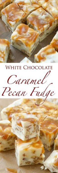 Caramel Pecan Fudge White Chocolate Caramel Pecan Fudge is a quick and easy 5 Minute Fudge Recipe and it's a huge favorite this year.White Chocolate Caramel Pecan Fudge is a quick and easy 5 Minute Fudge Recipe and it's a huge favorite this year. Just Desserts, Delicious Desserts, Yummy Food, Trifle Desserts, Holiday Baking, Christmas Baking, Christmas Recipes, Christmas Fudge, Christmas Snacks