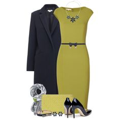 """""""Chartreuse & Navy"""" by brendariley-1 on Polyvore"""