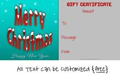 23 best christmas gift certificates images on pinterest free