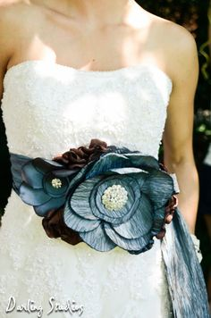 Statement Bridal Belt Wedding Sash Two Toned Blue Taffeta and Chocolate. $195.00, via Etsy.
