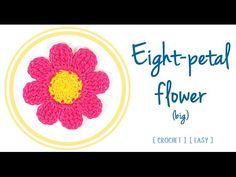 Eight-Petal #Flower in #Crochet (1 - big) | #PatronesValhallaENG