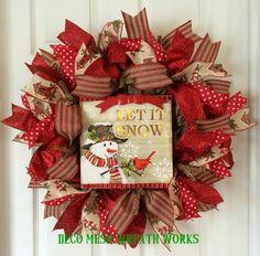 Christmas Wreath, Holiday Wreath, Snowman Wreath, Winter Wreath, Xmas Wreath, Burlap Wreath, Holiday Decor, Christmas Decor, Lighted Wreath by DecoMeshWreathWorks on Etsy