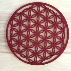 "Red Felt Crystal Grid - flower of life design 8"" diameter Sacral/ root chakra altar sacred geometry by The7Directions on Etsy"