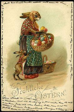 1901 German Frohliche Ostern Easter postcard mother & baby rabbit, egg baskets    http://www.ebay.com/itm/270943418725?ssPageName=STRK:MESOX:IT&_trksid=p3984.m1559.l2649