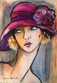 Prendre le temps.... (Peinture),  29x42 cm par Dam Domido Portrait de femme, rétro, art déco