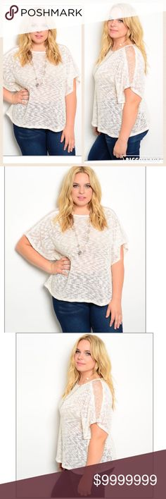 """❣️PLUS-NEW ARRIVAL❣️Ivory sweater! ‼️NEW Beige ivory Plus size top💕 60% Polyester 40% Cotton 💕L: 26"""" B: 21"""" W: 20"""" Tops Tees - Short Sleeve"""