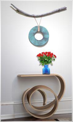 $464 - Zibudesigns Contemporary Wall Art Ceramic Dream Catcher with a Kino Guerin Table. #InteriorDesign, #DreamCatcher,#ContemporaryCeramic, #WallArt, #Zibudesigns, #KinoGuerin