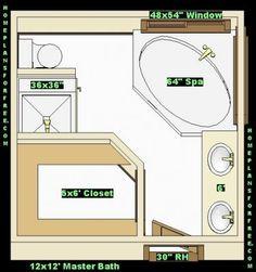 Free Bathroom Plan Design Ideas   Master Bathroom Design Size/Master Baths  Free Ideas Design With Walk In Closet