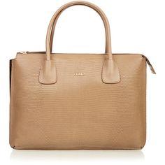 Furla Jade Light Tan Tote ($370) ❤ liked on Polyvore featuring bags, handbags, tote bags, tan, furla tote bags, crocodile handbag, top handle handbags, beige purse and beige tote bag