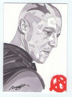 Sons of Anarchy seasons 4 & 5 Sketch card of Juice Ortiz by Robert Hendrickson