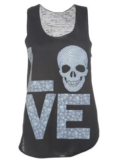 Love Skulls Casual Vest Top / Black - Womens Clothing Sale, Womens Fashion, Cheap Clothes Online | Miss Rebel