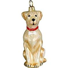 Joy to the World Collectibles European Blown Glass Pet Ornament, Labrador Retriever Yellow with Dog Bone Collar