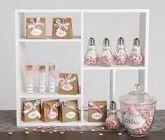 Inspiratie geboorte: suikerbonen roze, wit en kraftzakjes. collectie2017
