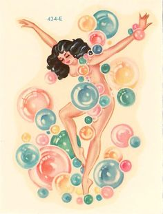 Vintage Meyercord Decal Pin-up Art Deco Girl with Bubbles